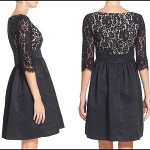 Eliza J Black Lace and Faille Fit and Flare dress